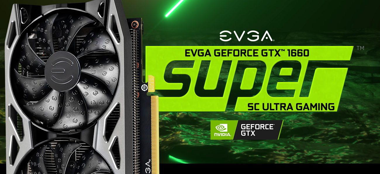 GeForce GTX 1660 SUPER graphics cards stand in a green background and evga logo on the right of it
