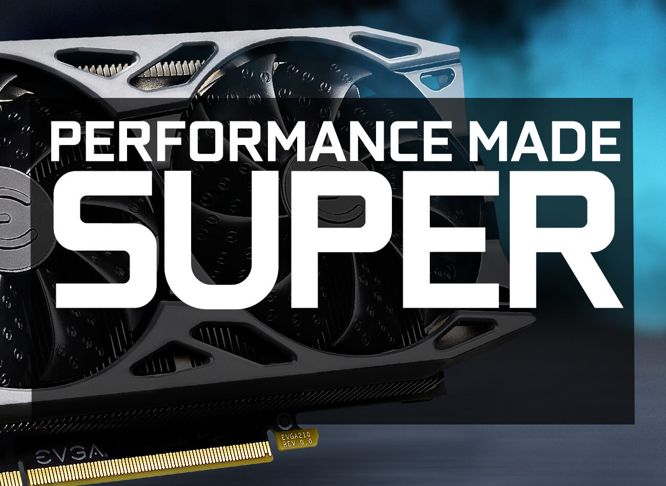 GeForce GTX 1660 SUPER graphics cards as background with performance made super