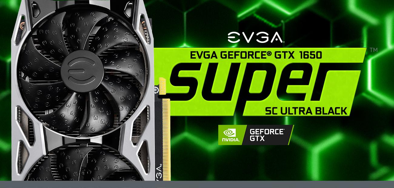 EVGA logo and GeForce GTX 1650 SUPER gaming cards facing forward