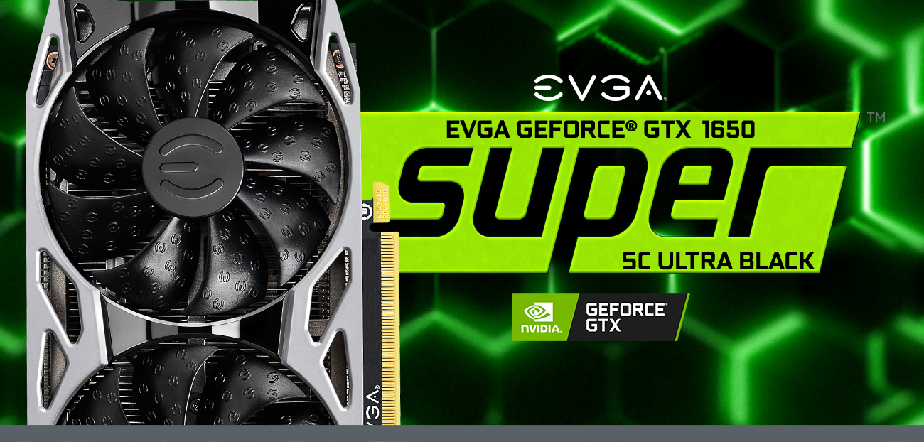 EVGA logo and GeForce GTX 1650 SUPER gaming cards facing forward