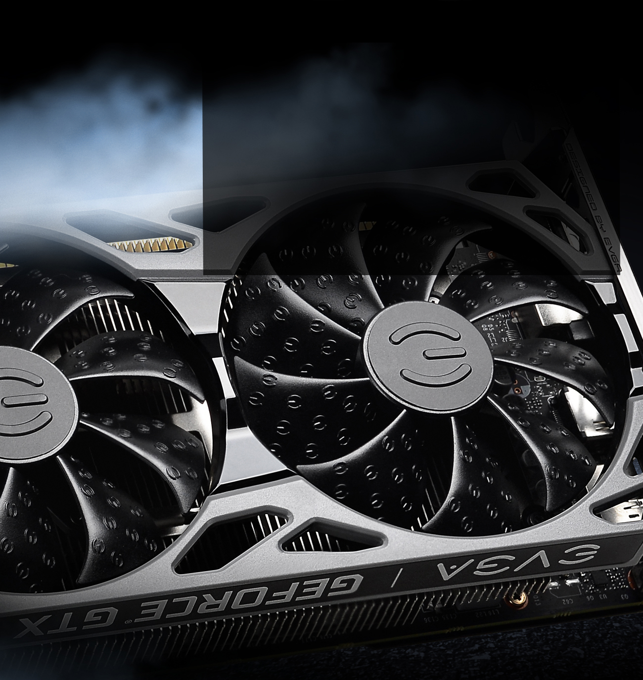 EVGA GeForce GTX 1660 SUPER and GeForce GTX 1650 SUPER gaming cards close-up