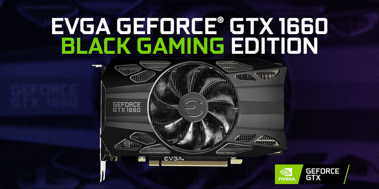 EVGA GeForce GTX 1660 BLACK GAMING Video Card facing forward