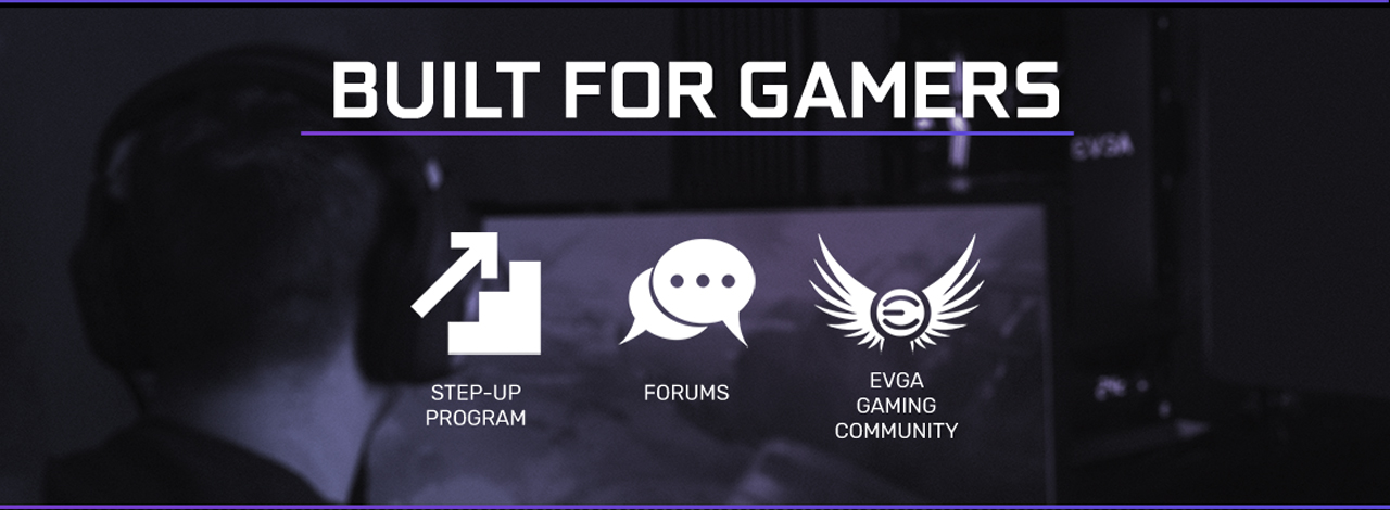 Step-up Program icon and Forums icon and EVGA Gaming Community icon