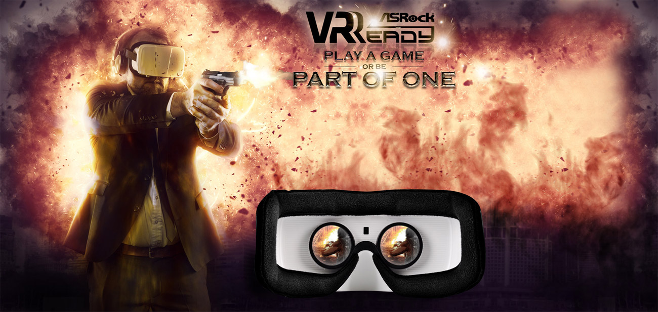 VR Ready Banner with a man using a VR headset and shooting a pistol while the background is a huge explosion