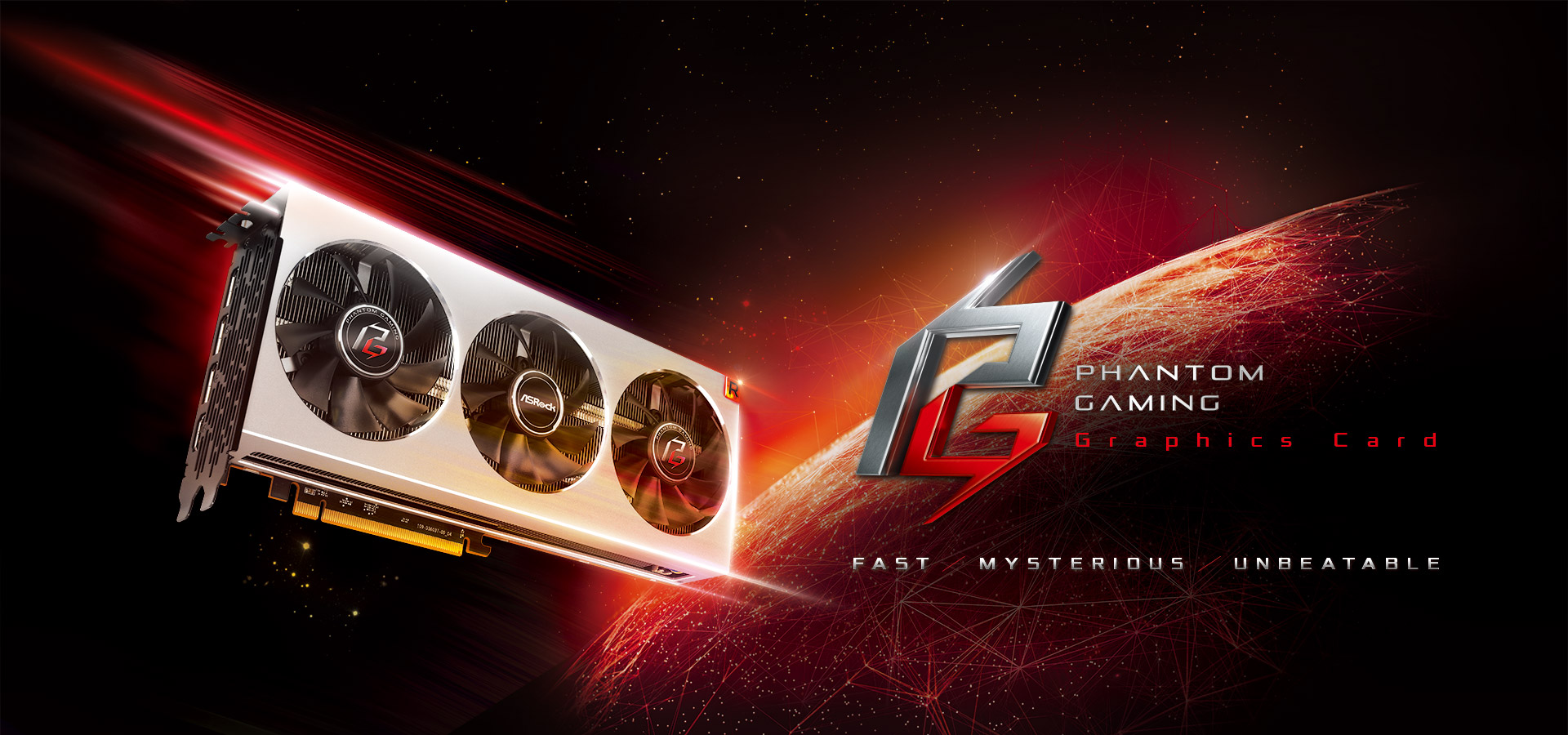 ASRock Phantom Gaming Graphics Card banner showing the graphics card approaching a planet from space