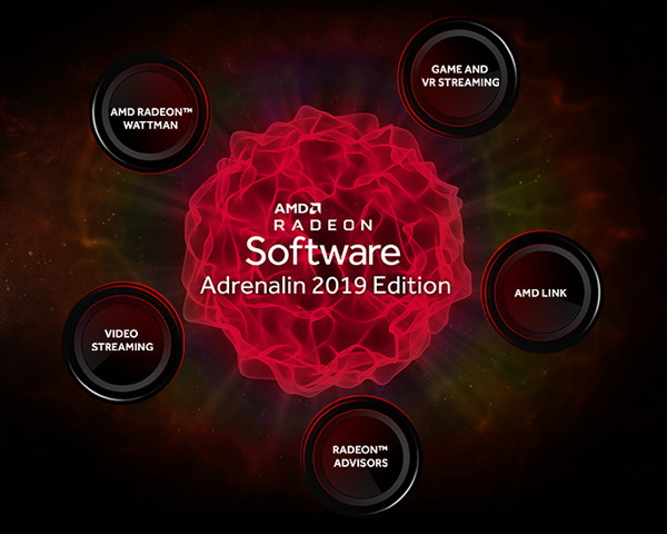 Icons for AMD RADEO WATTMAN, VIDEO STREAMING, RADEON ADVISORS, AMD link AND GAME AND VR STREAMING are surrounding around the icon of the Radeon Software Adrenalin 2019 Edition