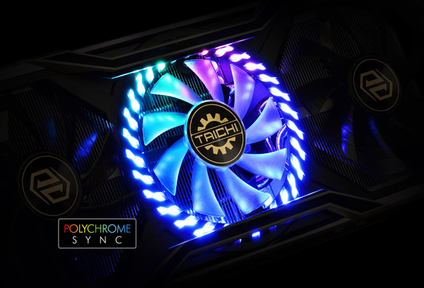The center fan has ARGB LEDs lighted up in the dark. And a Polychrome Sync icon is listed in the left bottom corner.