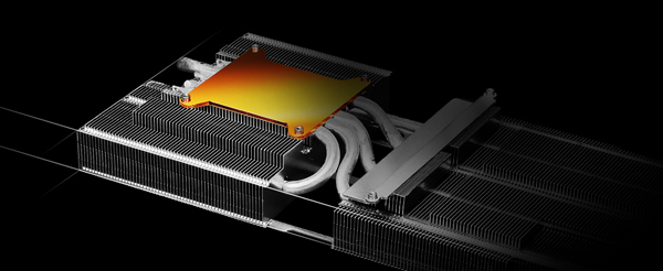 Shows heatsink with heatpipes passing through aluminum fins and copper base plate at the bottom.