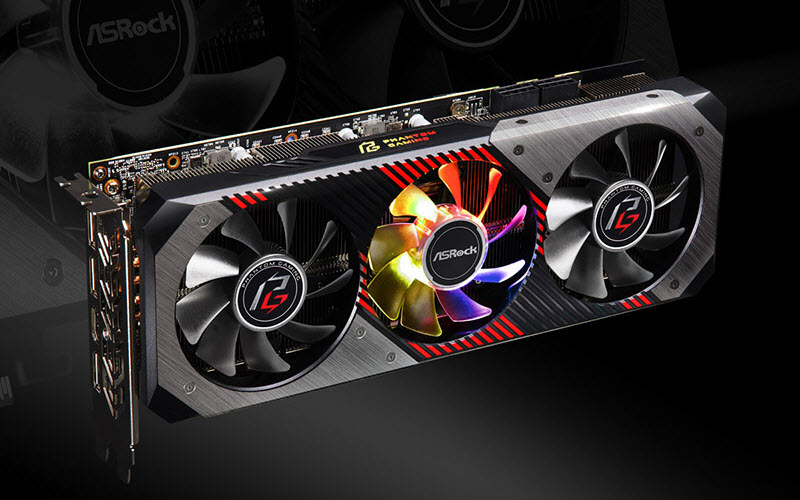 close look at the dual fans on this graphics card