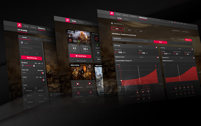 the interface of AMD Radeon Software Adrenalin