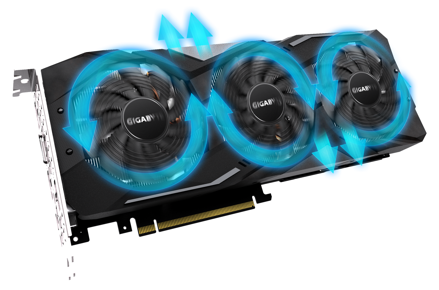 Blue Arrow Graphics Showing Alternate Spinning on the GIGABYTE GEFORCE RTX GV-N208TWF3OC-11GC Graphics Card