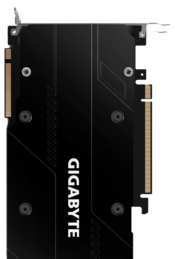 Back of the GIGABYTE GEFORCE RTX GV-N208TWF3OC-11GC Graphics Card Standing Up Vertically