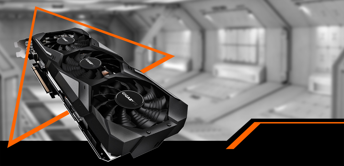 GIGABYTE GEFORCE RTX GV-N208TWF3OC-11GC Graphics Card Coming Through an Orange Triangle