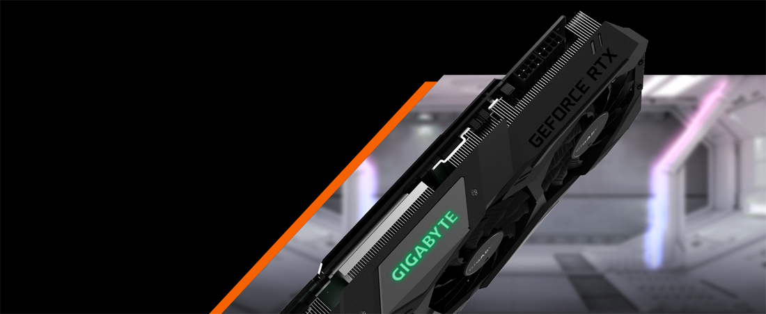 GIGABYTE GV-N208TWF3OC-11GC Graphics Card Side View, Angled Down to the Left
