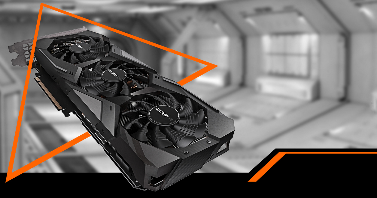 The GIGABYTE GeForce RTX 2070 graphics card facing up coming down to the right through an orange triangle. The background is a black-and-white space hangar