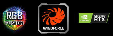 Logos for RGB FUSION, WINDFORCE and GEFORCE RTX