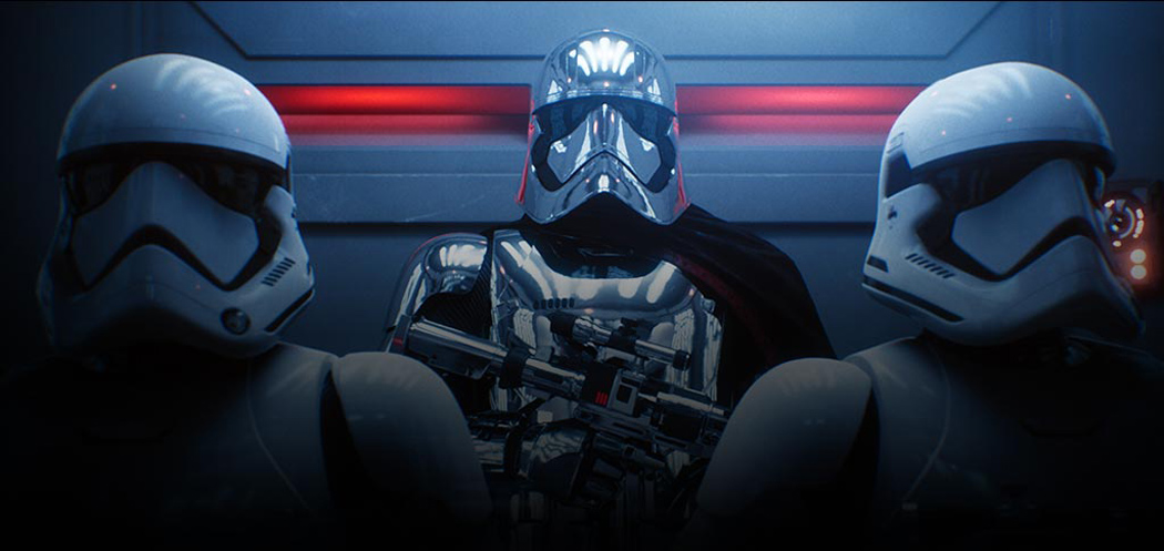 Game art of Captain Phasma and Two Stormtroopers from EA's Star Wars Battlefront 2