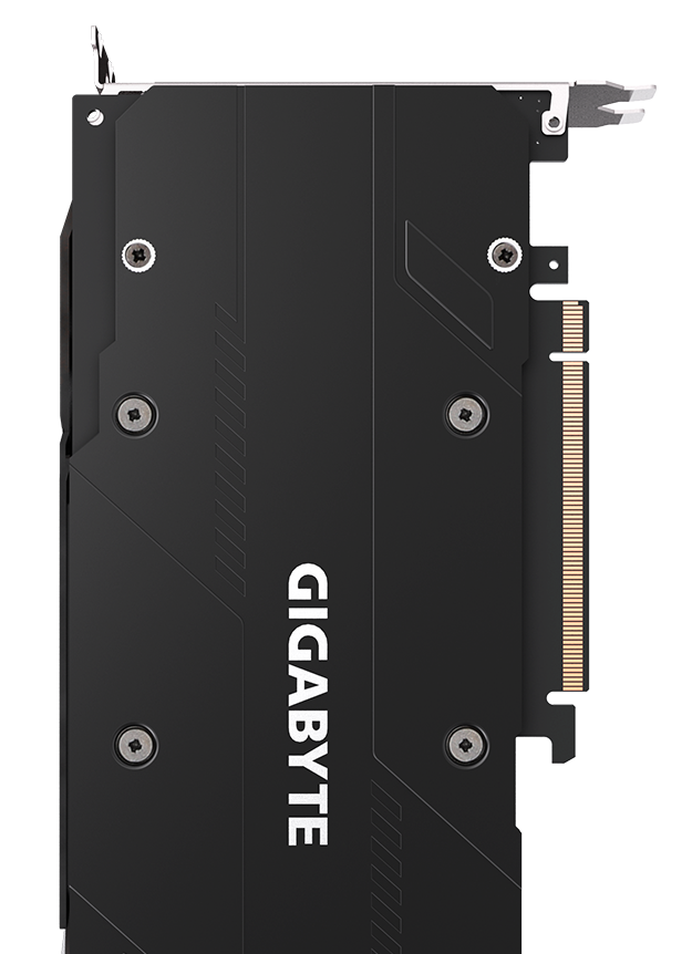 The back of the GIGABYTE GeForce RTX 2070 WINDFORCE graphics card