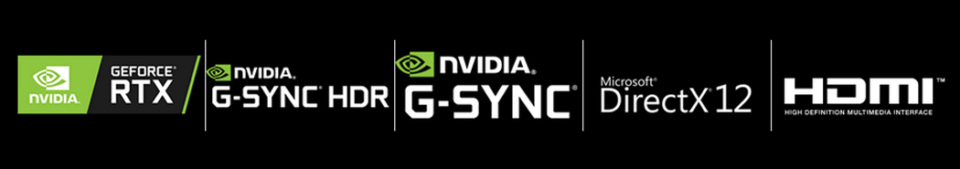 badges for GEFORCE RTX, NVIDIA G-SYNC HDR, NVIDIA G-SYNC, Microsoft DIRECTX 12 and HDMI