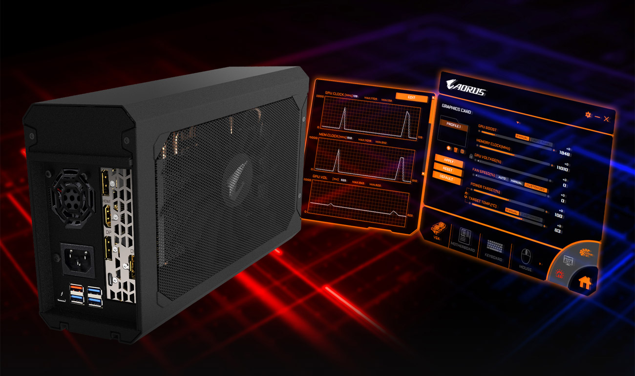 The back of the GV-N2070IXEB-8GC external graphics card along with two shots of the AORUS graphics engine utility software