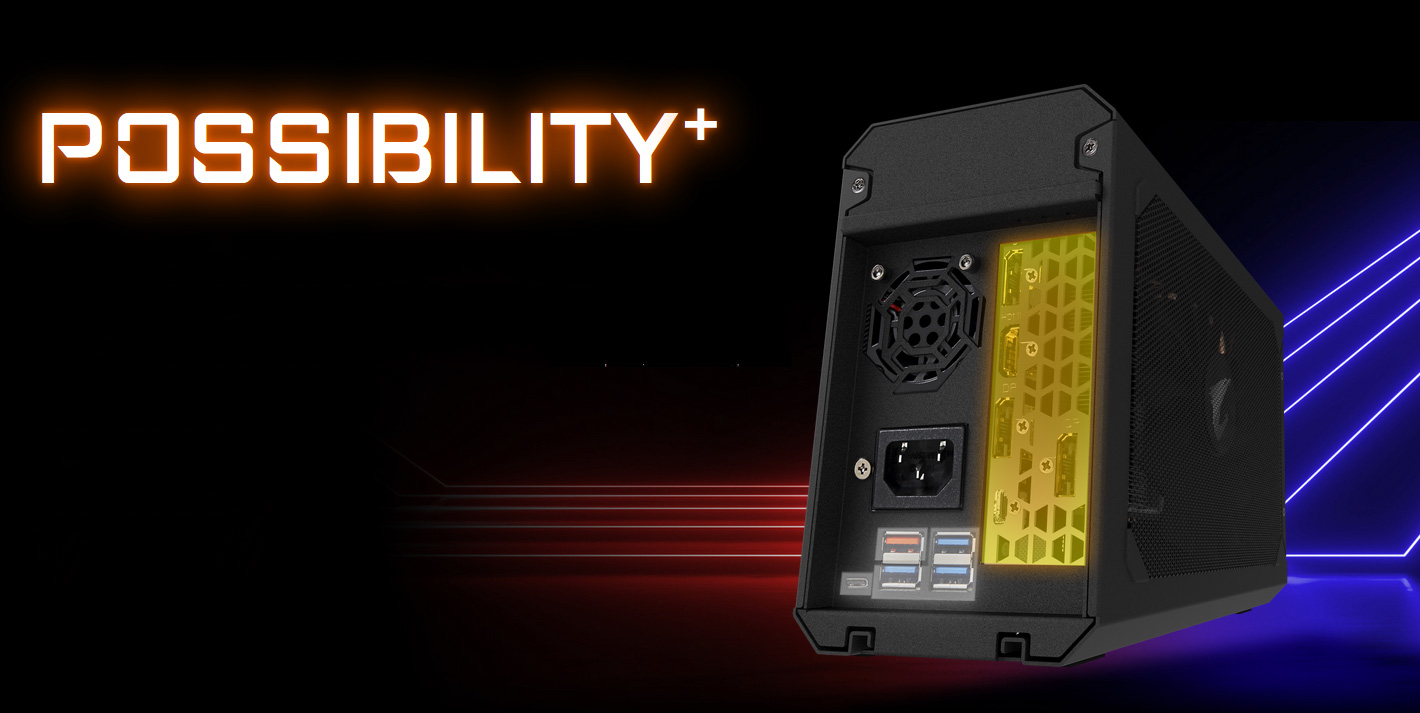 POSSIBILITY+ text along with an image of the back of the external graphics card showing the power slot, vents and ports