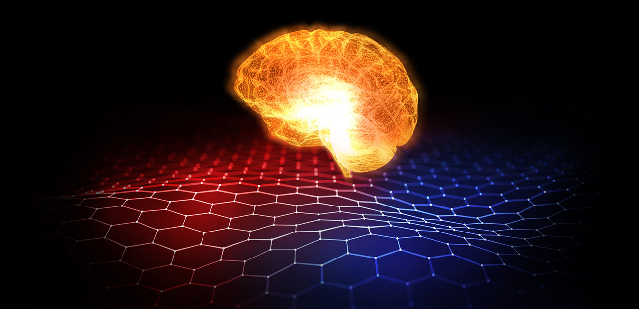 A lit-up brain over a graphical grid