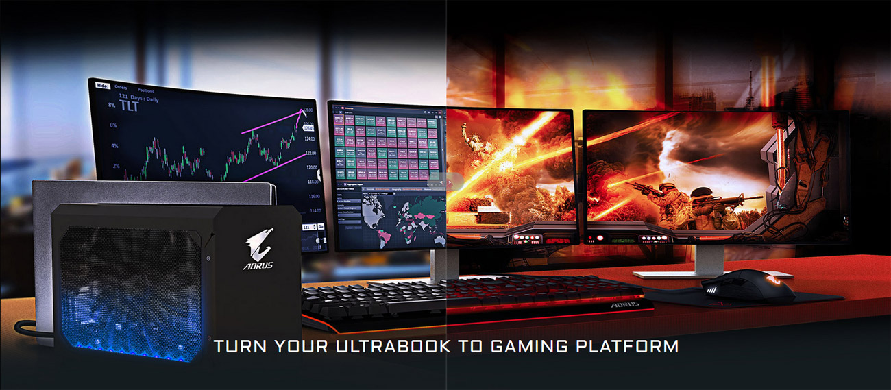 A three-monitor setup with keyboard and mouse as well as the AORUS external graphics card connected to a closed laptop. There is text that reads: Turn your ultrabook into a gaming platform