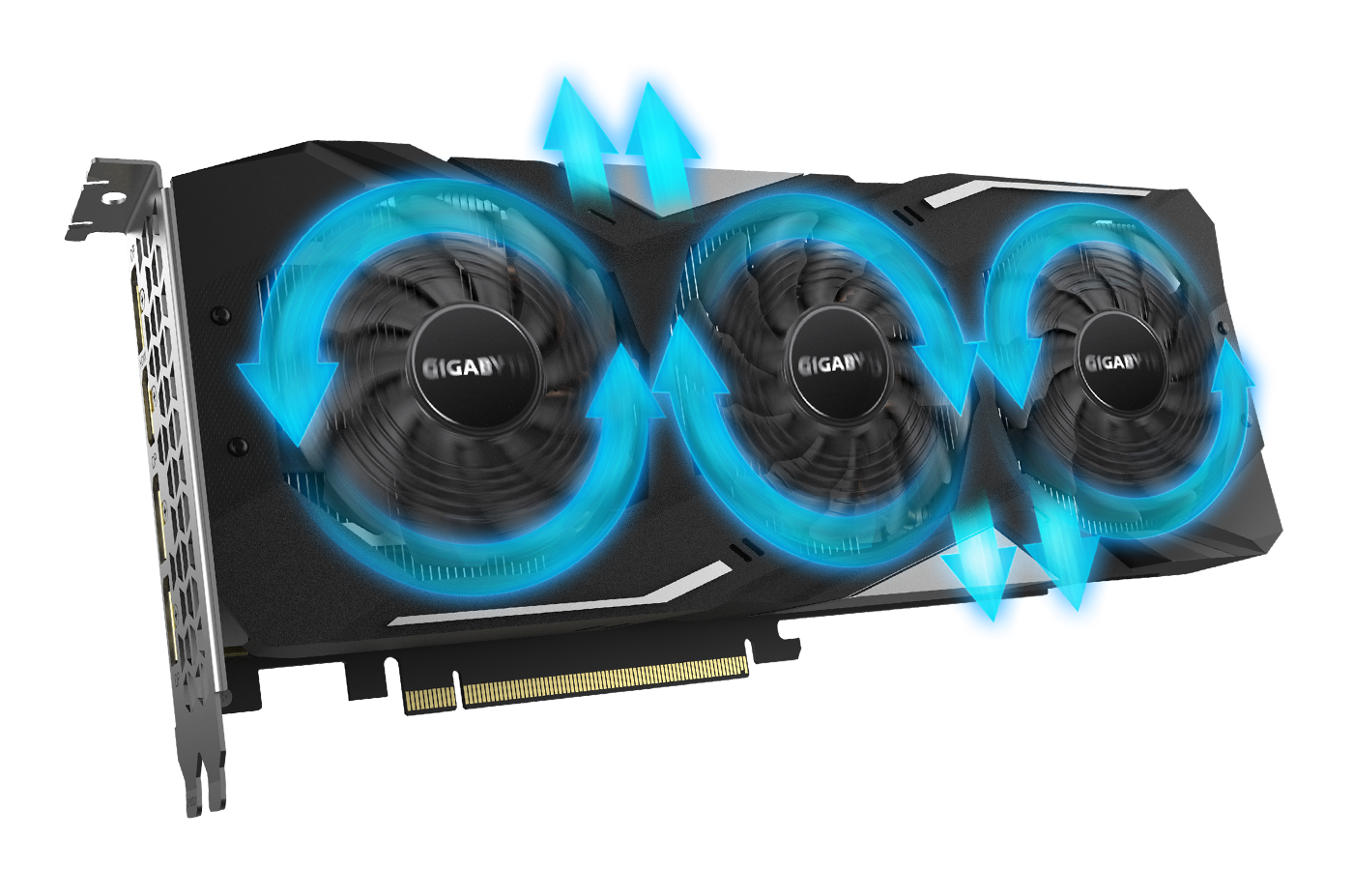 Graphic of the GIGABYTE GV-N208TWF3OC-11GC graphics card facing slightly to the right with arrows surrounding the fan, showing their spin cycles