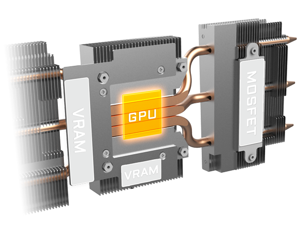 A graphic showing the heatsink and heat pipes around the central GPU