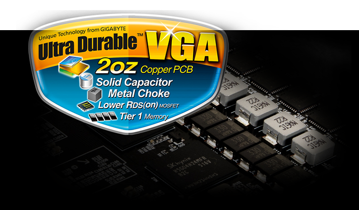 Closeup of the graphics card's circuitry and the Ultra Durable VGA badge with text that reads: 2oz Copper PCB, Solid Capacitor, Metal Choke, Lower RDS(on) and Tier 1 Memory