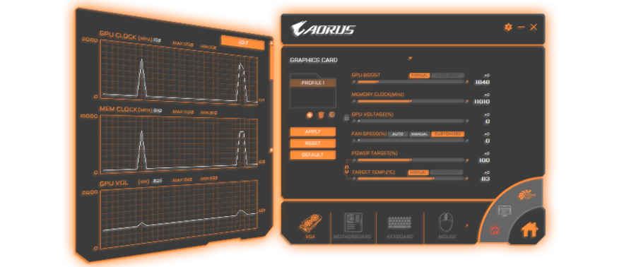 Two windows of the Aorus Engine software