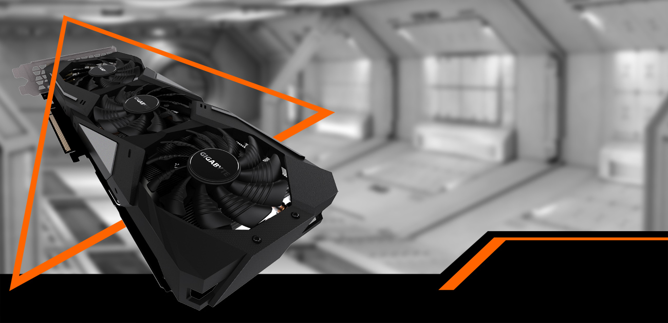 The GeForce RTX 1660 Ti Gaming OC 6G graphics card flying through an orange triangle with a black-and-white spaceship hangar background