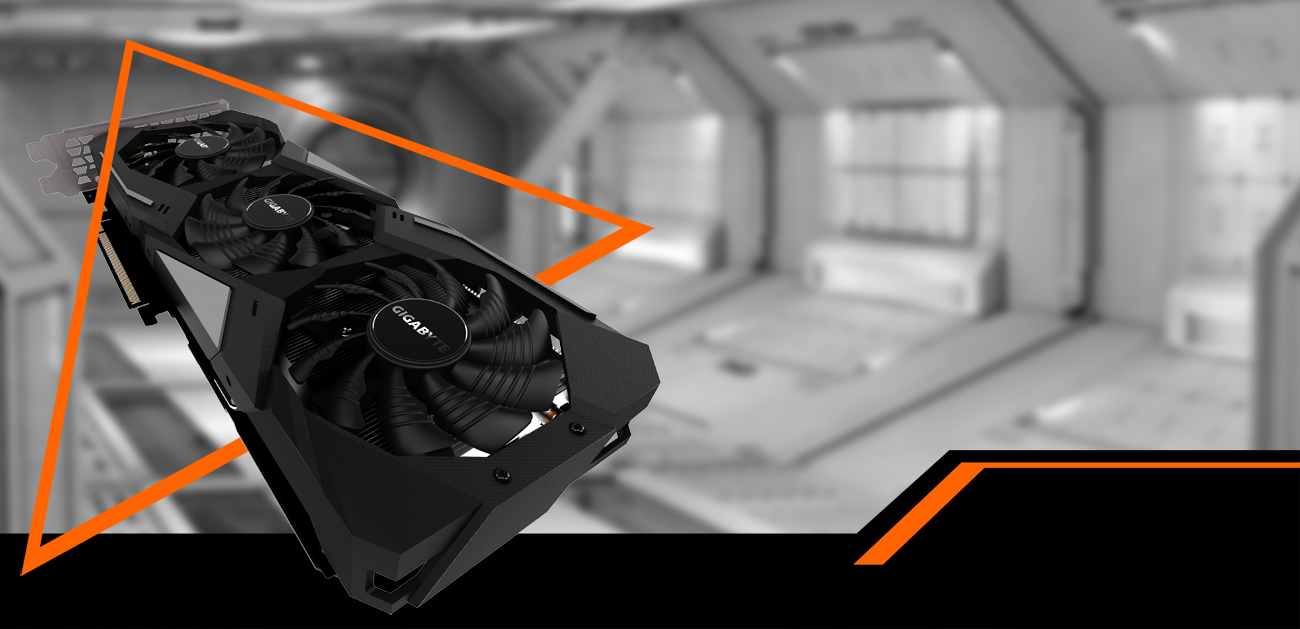 The GIGABYTE GeForce RTX 1660 graphics card facing up coming down to the right through an orange triangle. The background is a black-and-white space hangar
