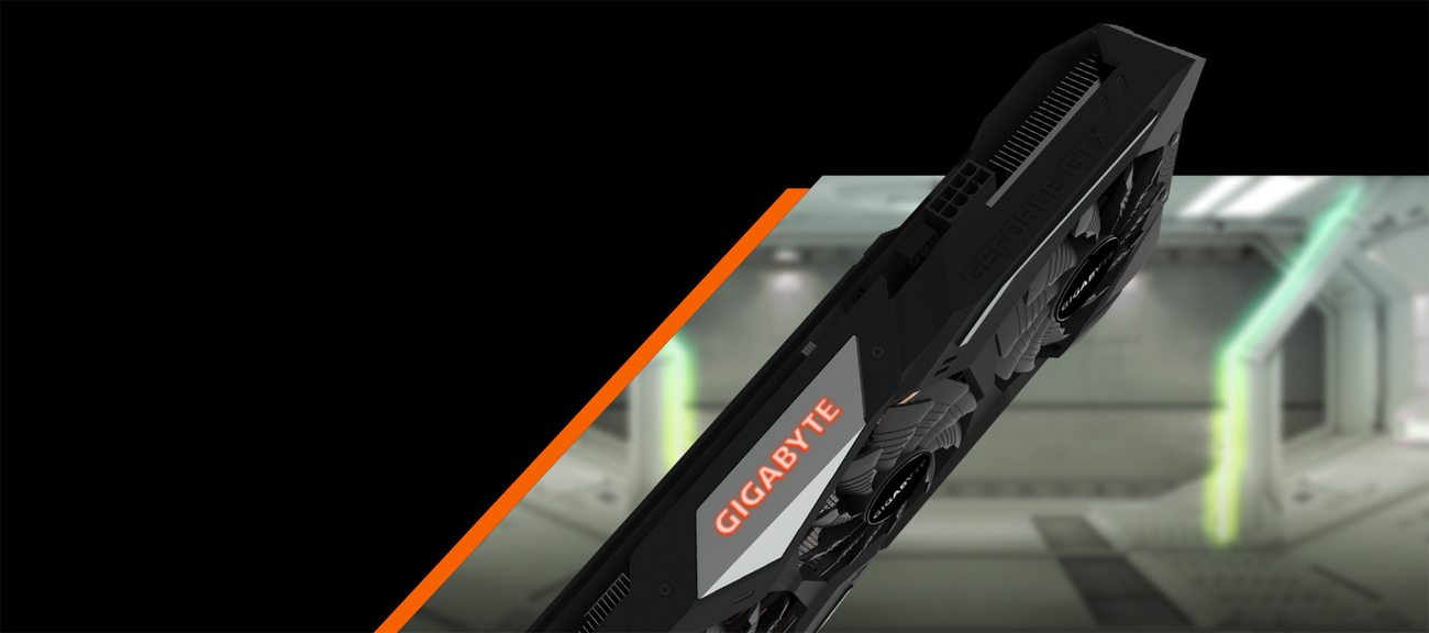 The GIGABYTE GV-N1660GAMING OC-6GD graphics card facing down, angled up to the right, with the GIGABYTE logo glowing on its side