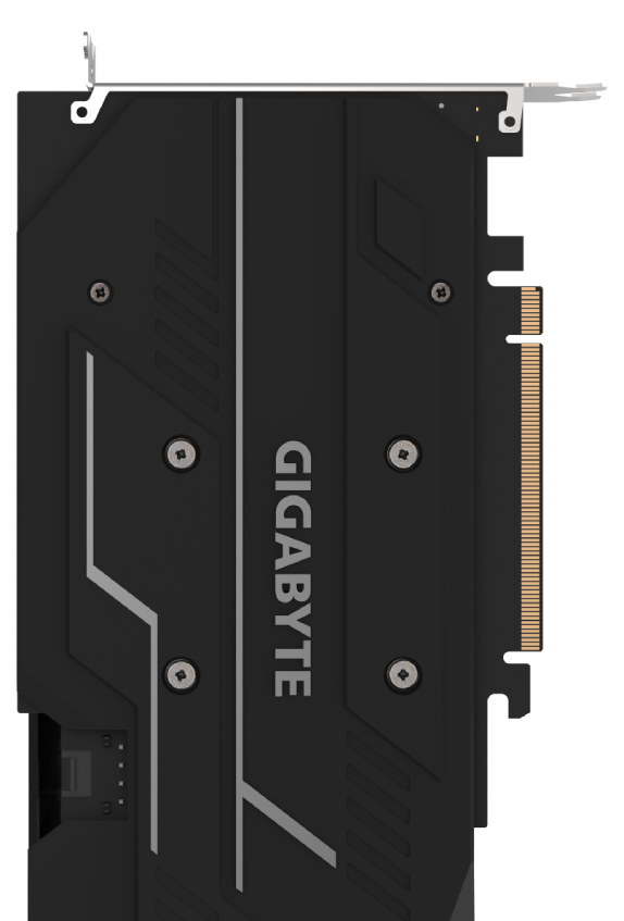 The back of the GIGABYTE GV-N1660OC-6GD graphics card