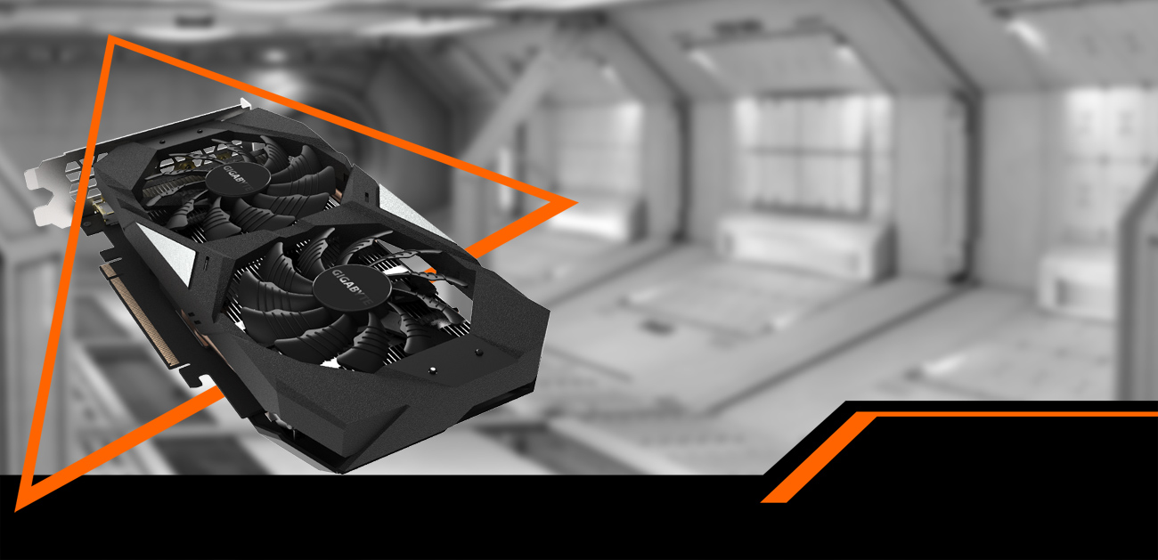GIGABYTE GV-N1660OC-6GD graphics card facing up coming down to the right through an orange triangle. The background is a black-and-white space hangar