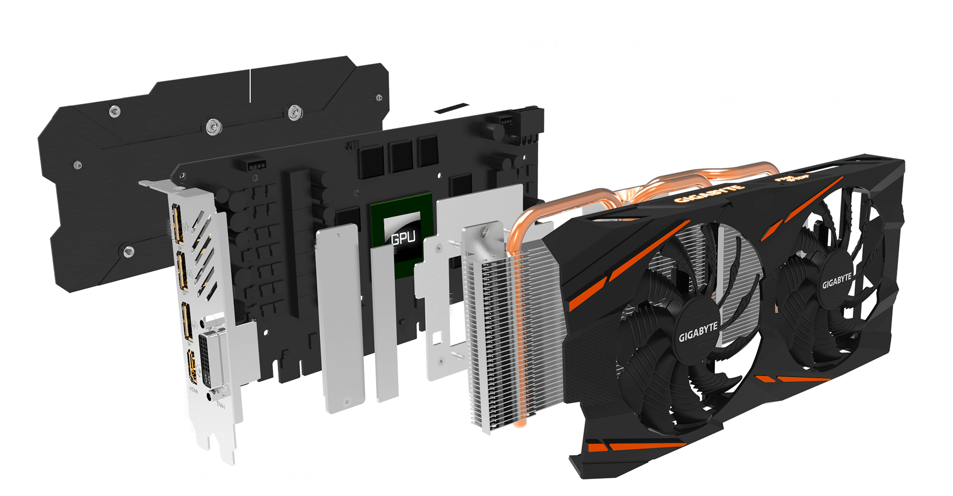 gigabyte radeon rx 590 facing to the right with all its pieces detaches and floating behind it, there is text from right to left indicating each piece: Two 80mm blade fans, front-side cooling module, GPU and back-side cooling module