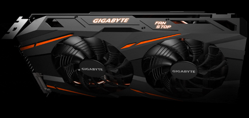 Gigabyte radeon rx 590 facing and tilted forward