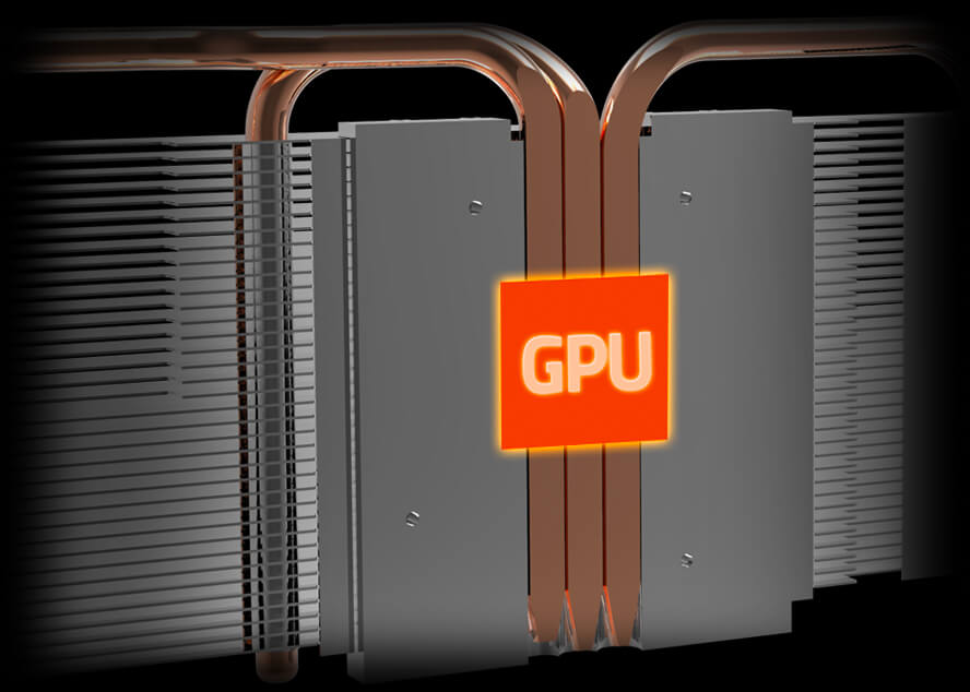 The heat sink and heat pipes surrounding the GPU