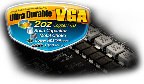 Badge that reads: Ultra Durable VGA, 2oz Copper PCB, Solid Capacitor, Metal Choke, Lower RDS(on)MOSFET and Tier 1 Memory