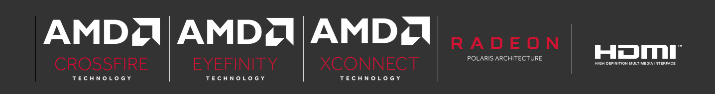 Logos for AMD Crossfire Technology, AMD Eyefinity Technology, AMD Xconnect Technology, RADEON Polaris Architecture and HDMI