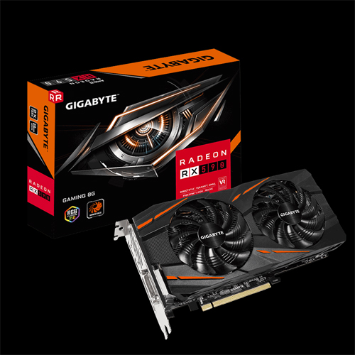 Gigabyte Radeon RX 590 graphics card facing up, titled slightly to the right in front of its product box