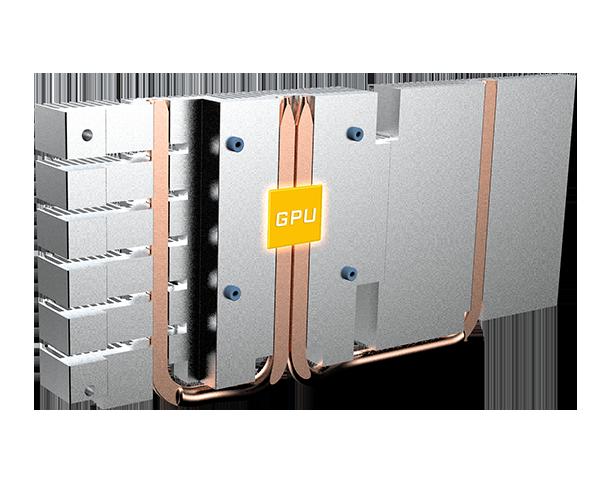 GIGABYTE GV-N208TWF3OC-11GC graphics card's heatsink and heat pipes