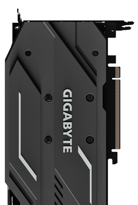 Back of the GIGABYTE GV-N208TWF3OC-11GC graphics card that's standing up