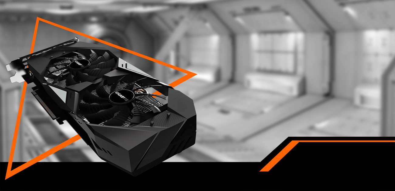 GIGABYTE GV-N208TWF3OC-11GC graphics card coming down to the right with a black and white spaceship hangar behind it