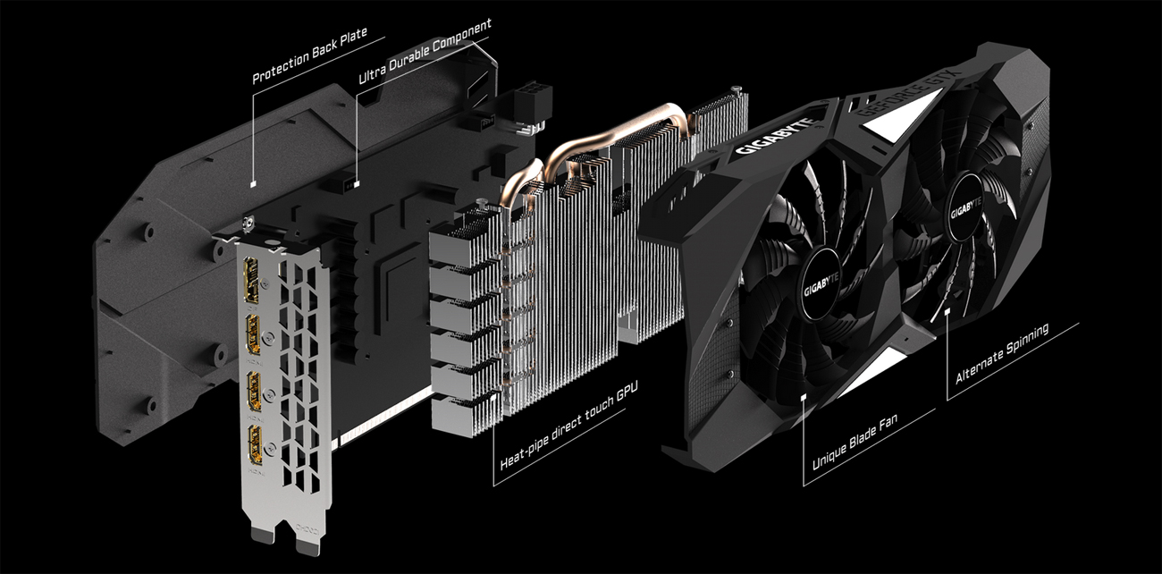 All the pieces of the GIGABYTE GV-N208TWF3OC-11GC graphics card angled to the right, one behind the other