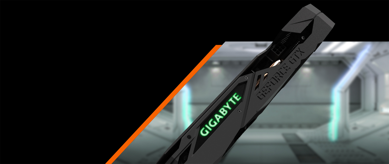 GIGABYTE GV-N208TWF3OC-11GC graphics card side profile in front of a spaceship hangar