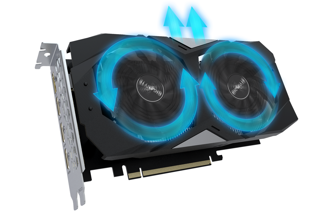 GIGABYTE GV-N1650WF2OC-4GD graphics card angled up to the right with blue graphics showing the airflow its spinning fans create