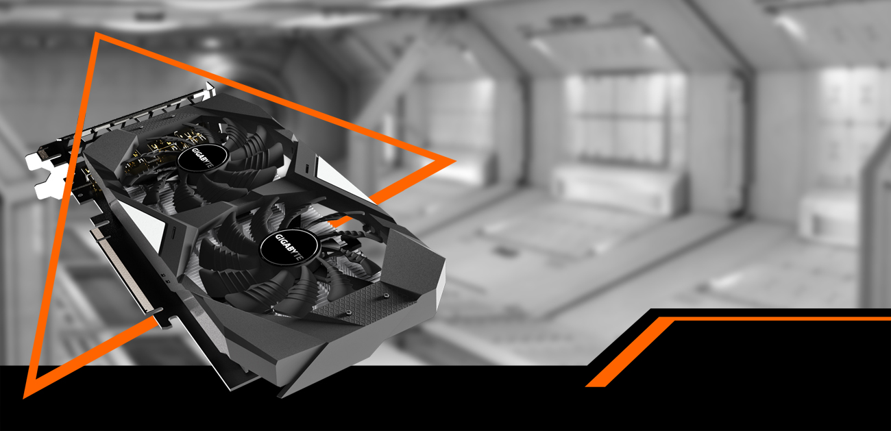 GIGABYTE GV-N1650WF2OC-4GD graphics card coming down to the right with a black and white spaceship hangar behind it