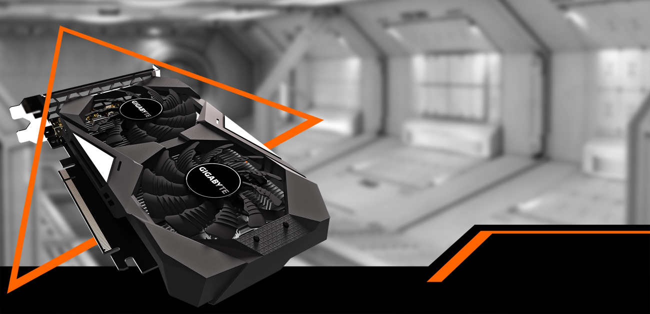 GIGABYTE GV-N1650OC-4GD graphics card coming down to the right with a black and white spaceship hangar behind it